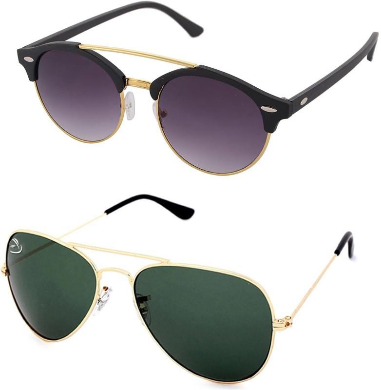 Aventus Round, Aviator Sunglasses(Black, Green)