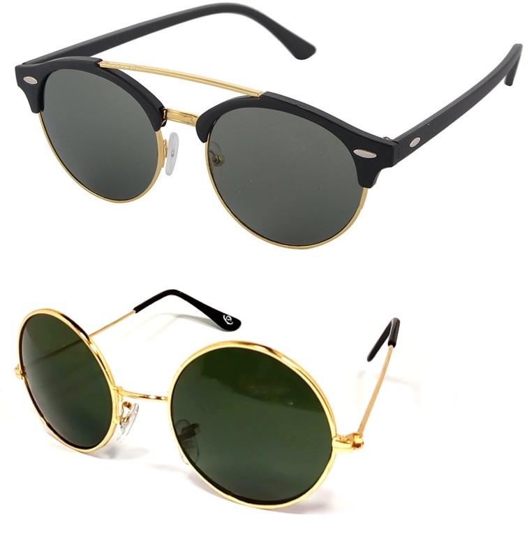 Aventus Round, Clubmaster Sunglasses(Green)