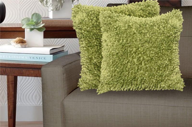 Avira Home Modern Decorative Cushion Pack of 2(Green)