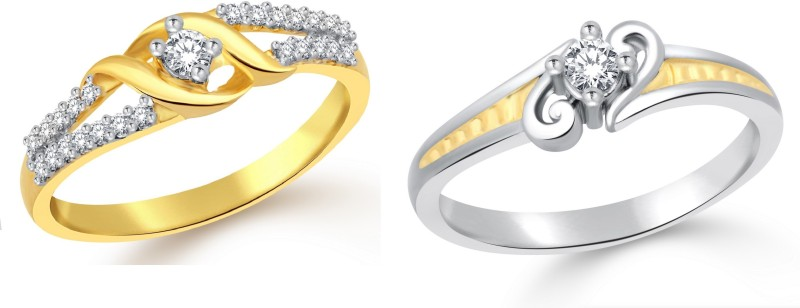 Classic Solitaire Gift Combo for Women [CJ3082COM15] Alloy Cubic Zirconia Gold-plated Plated Ring Set