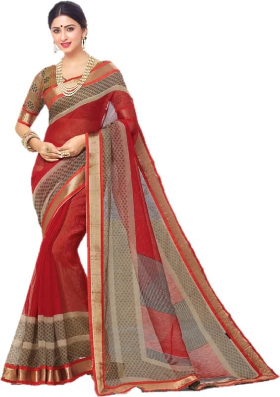 SGM Printed Fashion Silk Cotton Blend Saree(Red)