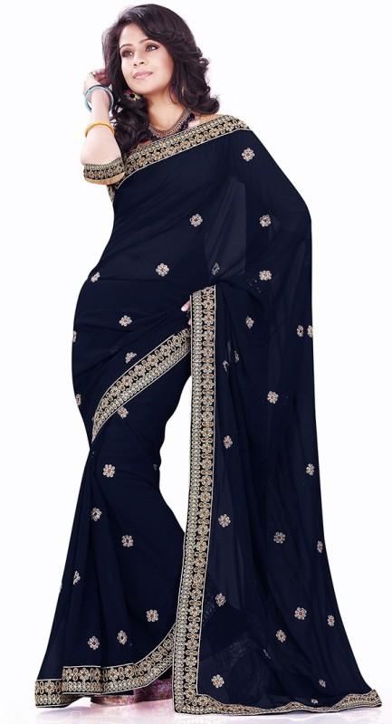 Sourbh Sarees Applique Fashion Synthetic Georgette Saree(Multicolor)