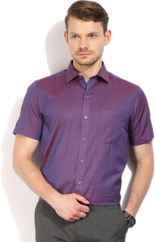 3. John Players Men's Self Design Formal Purple Shirt