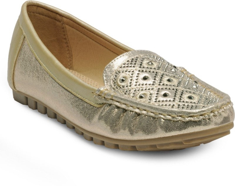 Flat n Heels Loafers For Women(Gold)