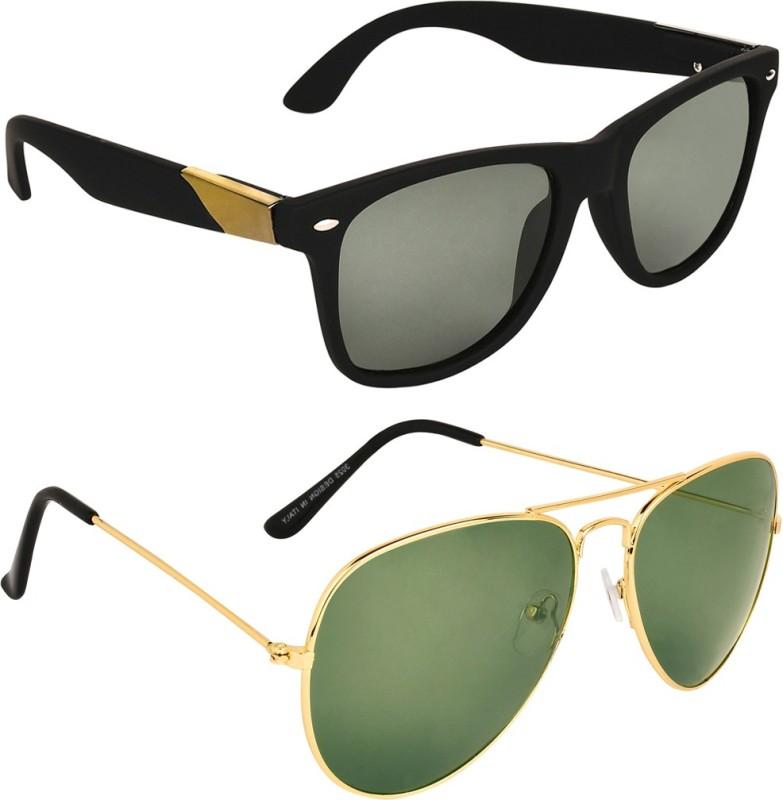 Zyaden Wayfarer, Aviator Sunglasses(Black, Green) image