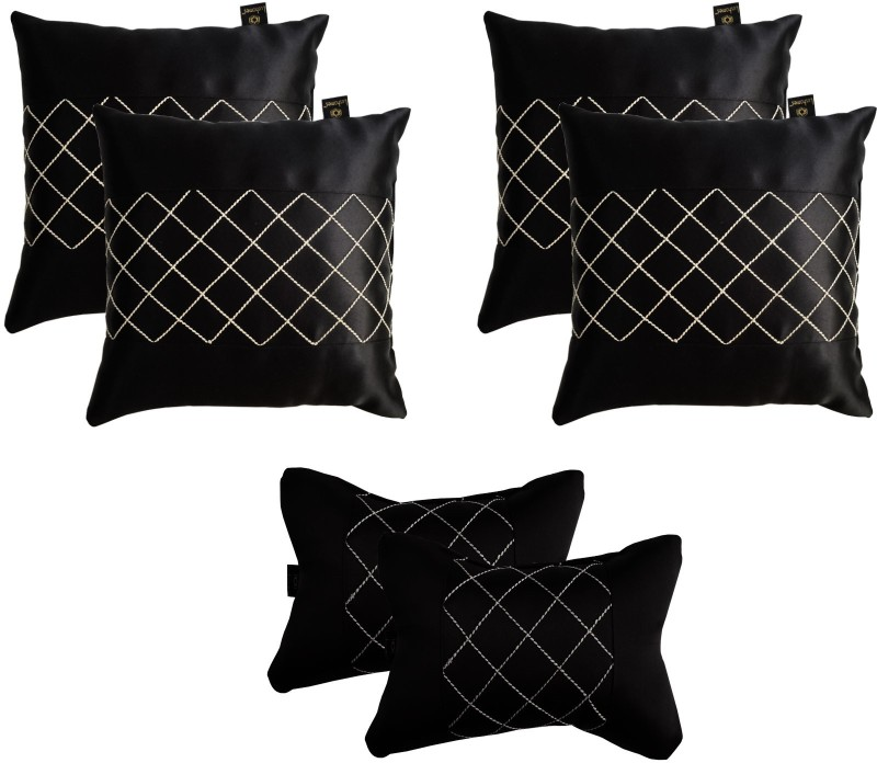 Lushomes Black Polyester Car Pillow Cushion for Universal For Car(Rectangular, Pack of 6)