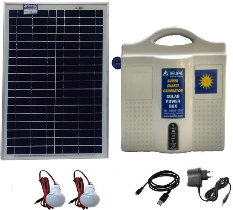 Belifal Solar Home Lighting System with 12V DC LED Bulb(2pcs) & Table Fan & 12V 7Ah Battery including Solar Charge Controller, Solar Panel Solar Lights(White)