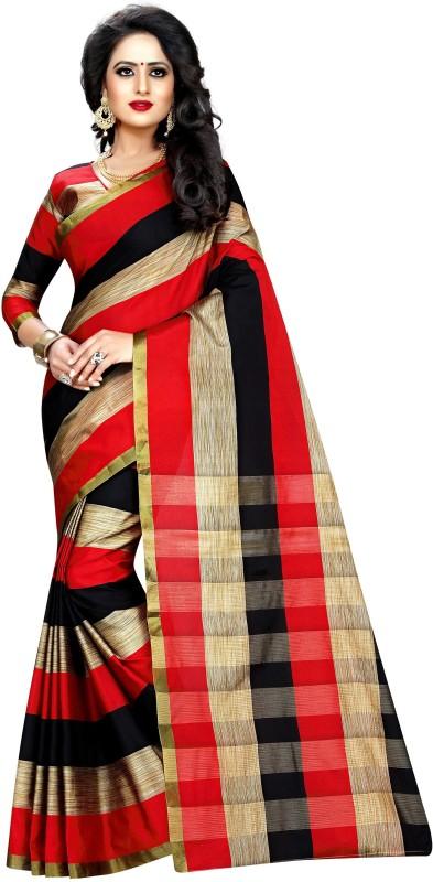 Anugrah Floral Print Banarasi Cotton, Silk, Crepe Saree(Red, Black, Beige)