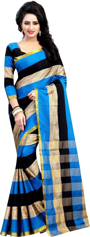 Anugrah Floral Print Banarasi Cotton, Silk, Crepe Saree(Blue, Black, Beige)
