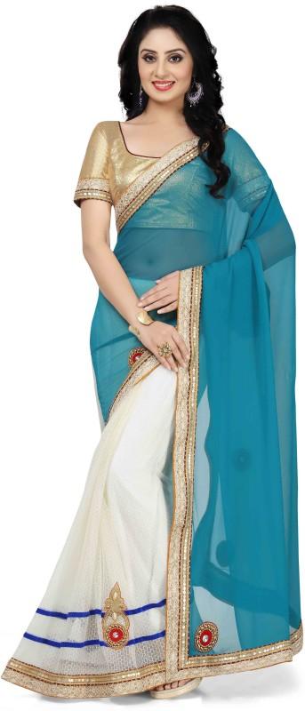 De Marca Embroidered Fashion Georgette, Tissue Saree(Blue, Beige)