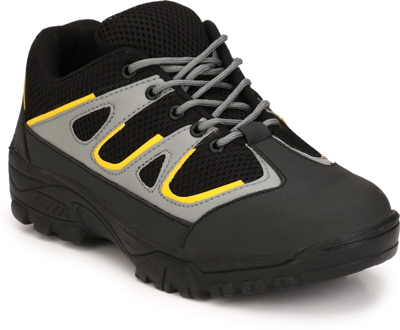 Eego Italy Genuine Leather Steel Toe Safety Shoes Boots For Men(Black)