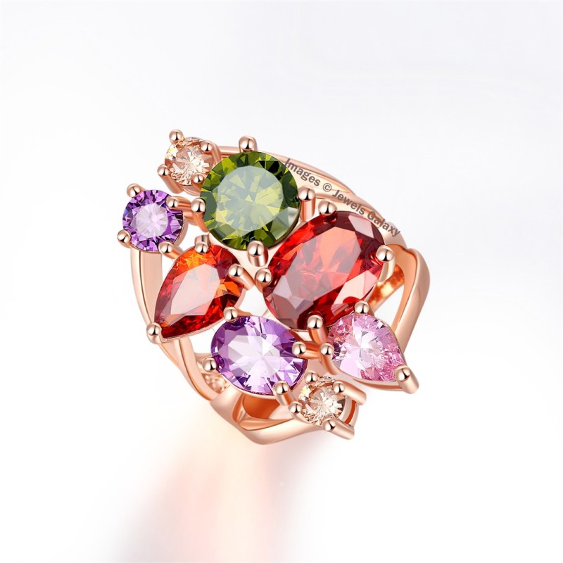 Jewels Galaxy Luxuria Alloy Cubic Zirconia Gold-plated Plated Ring