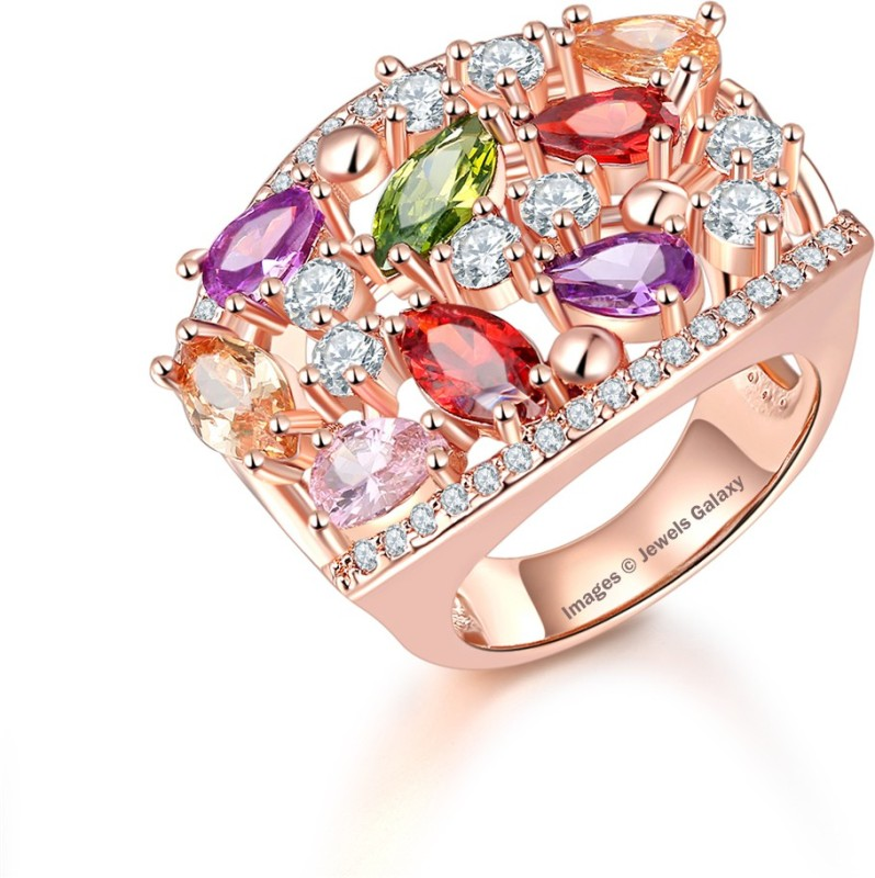 Jewels Galaxy Luxuria Alloy Crystal 24K Rose Gold Plated Ring