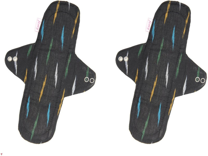 Femy Washable & Reusable Cloth Pad - Ikkat Black Combo Of 2 Sanitary Pad(Pack of 2)