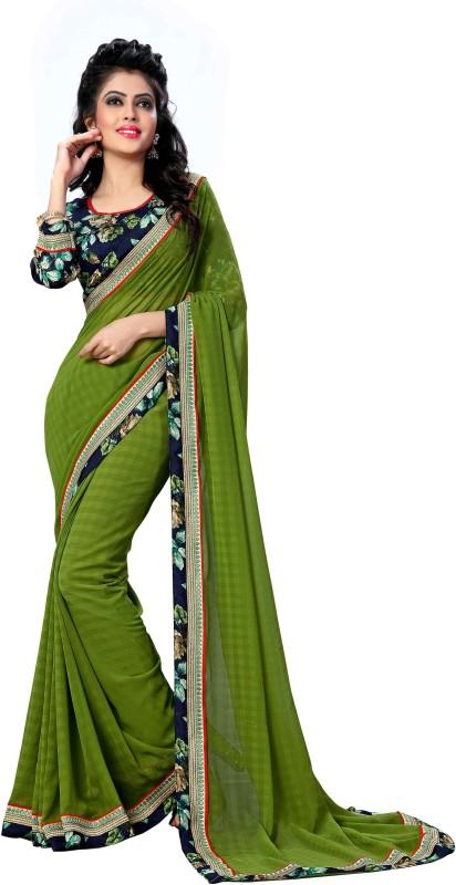 Oomph! Printed Bollywood Chiffon Saree(Green)