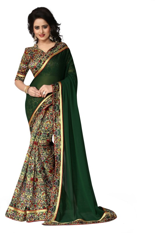 Oomph! Printed Bollywood Georgette, Cotton Saree(Green)