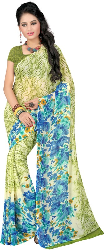 Livie Floral Print Bollywood Georgette Saree(Blue)