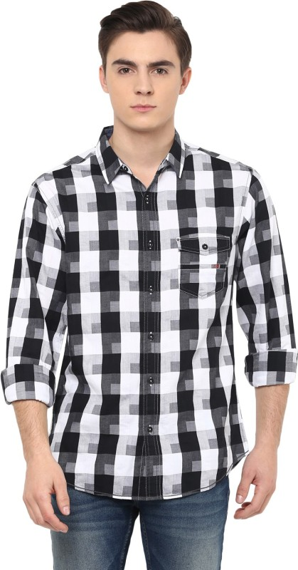 Spykar Mens Checkered Casual Black Shirt