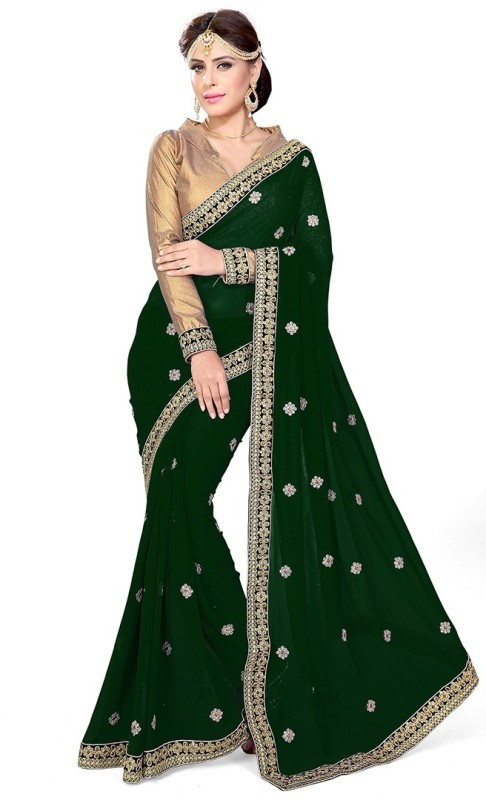 Sourbh Sarees Embroidered Fashion Georgette Saree(Green)