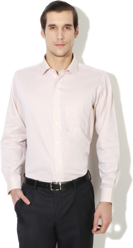 Van Heusen Mens Self Design Formal Beige Shirt