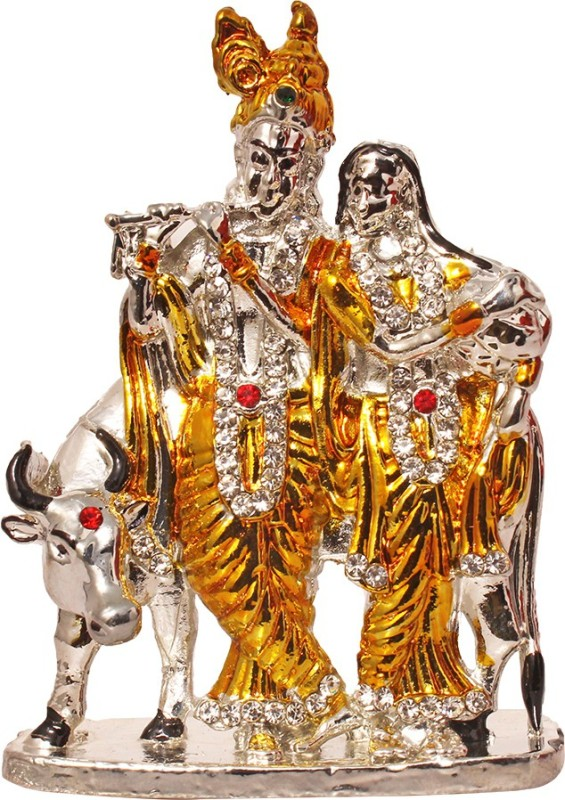 Art N Hub Lord Radha Krishna & Cow / Radhey Krishan Couple Idol God Statue Showpiece - 8 cm(Brass, Gold)