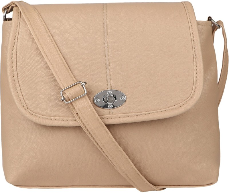 Rainbow arts Women Beige PU Sling Bag