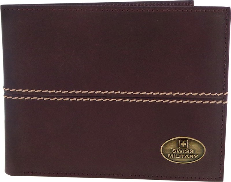 Swiss Military Men Brown Genuine Leather Wallet(8 Card Slots)