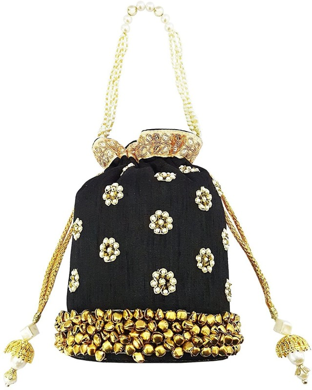 Mehrunnisa Black Floral Pearl Embroidered Ghungroo Potli Bag Wristlet(Black)