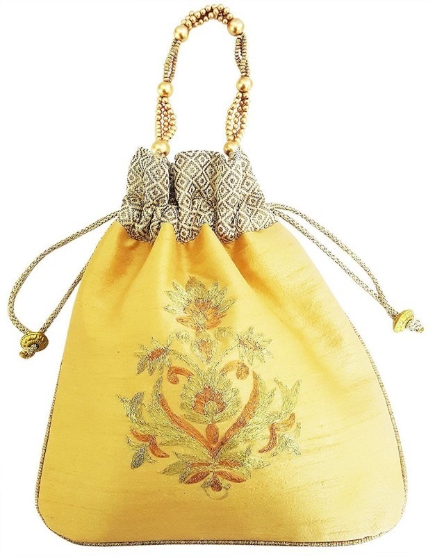 Mehrunnisa Big Floral Embroidered Potli Bag Wristlet(Beige)