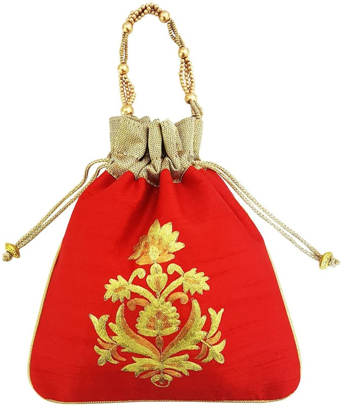 Mehrunnisa Big Floral Embroidered Potli Bag Wristlet(Red)