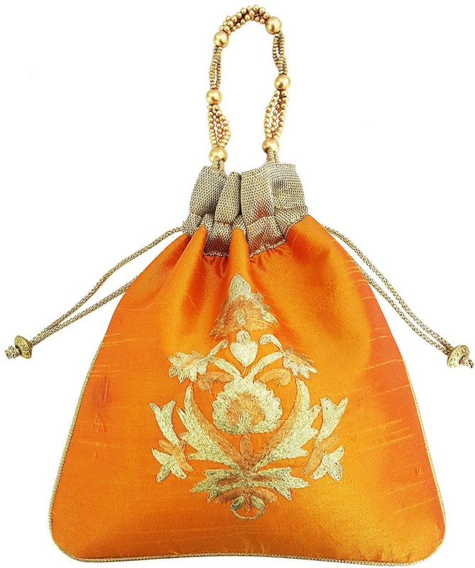 Mehrunnisa Big Floral Embroidered Potli Bag Wristlet(Orange)