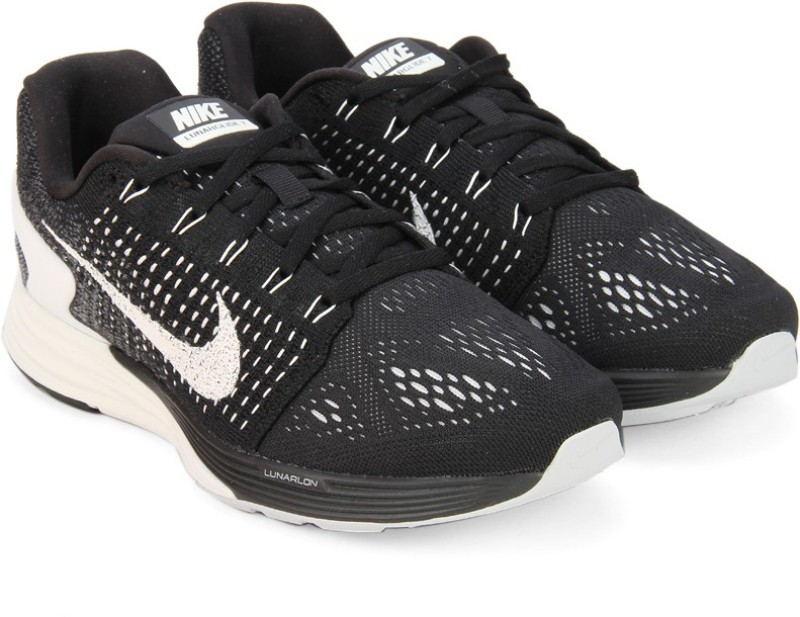 Nike WMNS LUNARGLIDE 7 Running Shoes For Women(Black, White)
