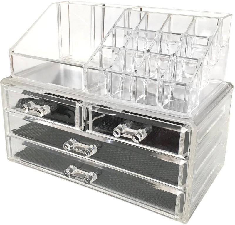 Swarish Transparent 4 Drawers Jewelry Storage With Mirror Cosmetic Organizer Vanity Box(White)