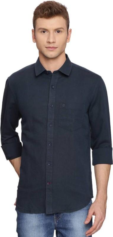 Proline Mens Solid Casual Dark Blue Shirt