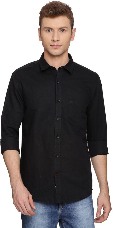 Proline Mens Solid Casual Black Shirt