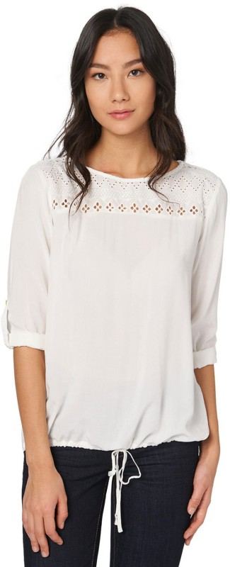 Tom Tailor Casual Full Sleeve Solid Women's White Top