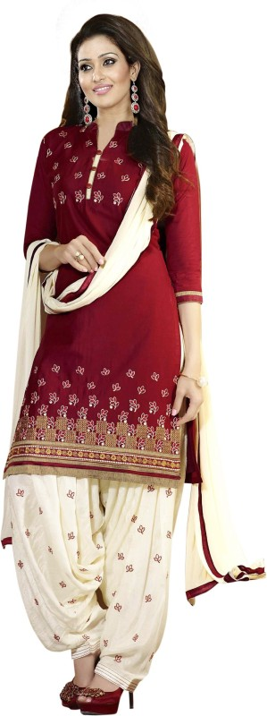 Aashvi Creation Cotton Embroidered Salwar Suit Dupatta Material(Un-stitched)