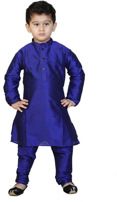 Nikunj Fashion Boys Kurta and Pyjama Set(Blue Pack of 1)