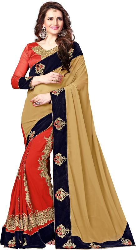 onlinefayda Embroidered Bollywood Georgette Saree(Orange)