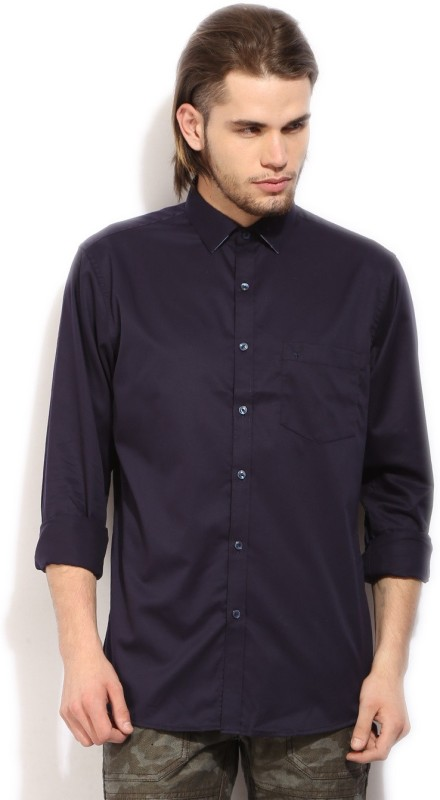 Allen Solly Mens Solid Casual Blue Shirt