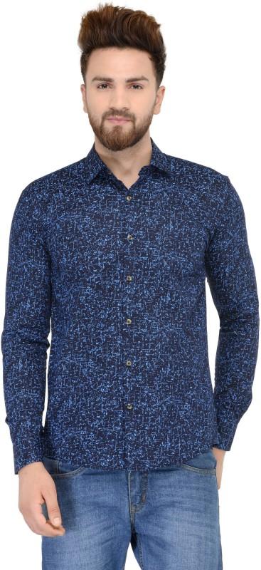 Being Fab Men's Geometric Print Casual Dark Blue Shirt