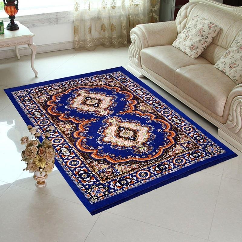 dikshatextile Blue Polyester Carpet(152 cm X 213 cm)