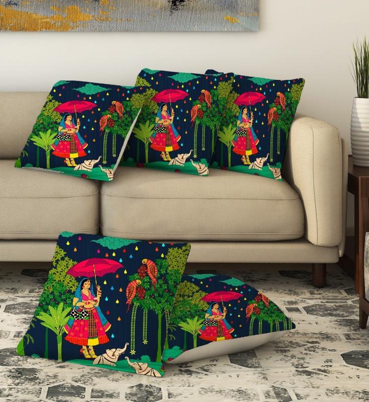 LA VERVE Printed Cushions Cover(Pack of 5, 40 cm*40 cm, Multicolor)