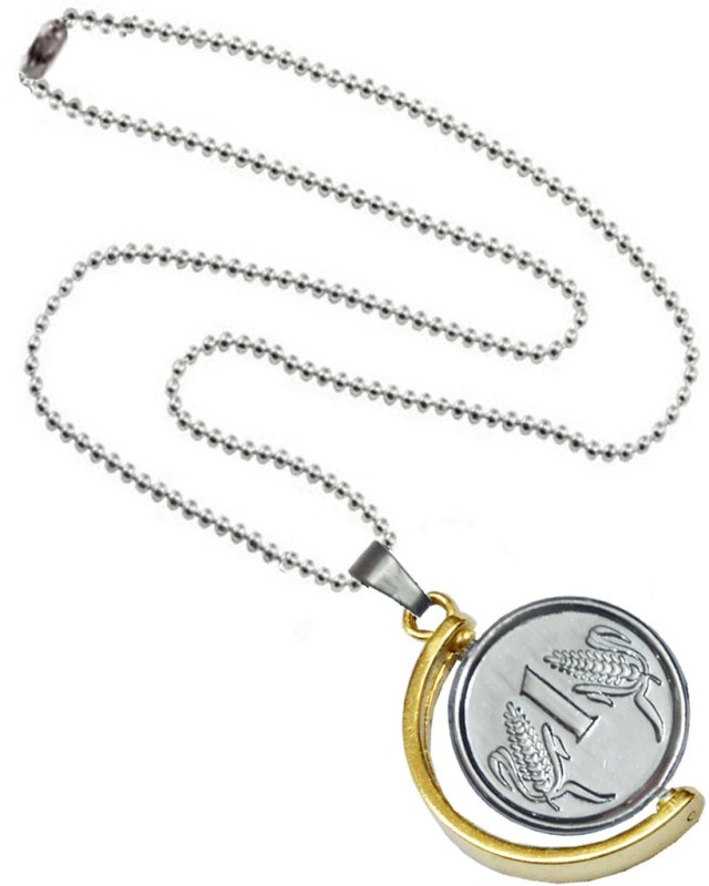 Men Style One Ruppess Coin Anjaan Locket With Chain Alloy Pendant Set