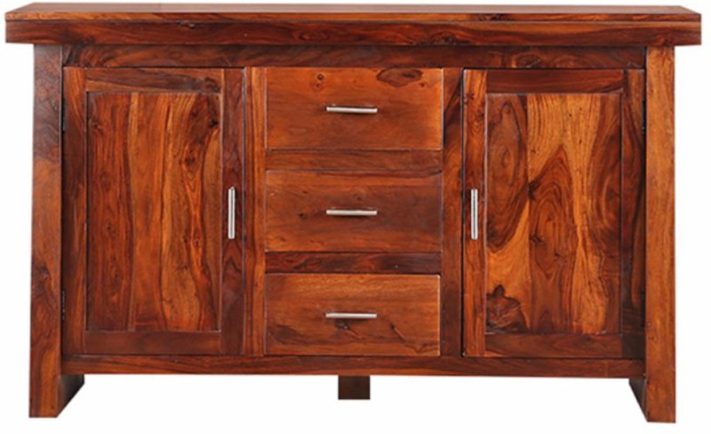 HomeTown Austin Solid Wood Free Standing Sideboard(Finish Color - Honey)