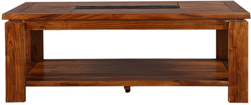 HomeTown Leopold Solid Wood Coffee Table(Finish Color - Walnut & Black)