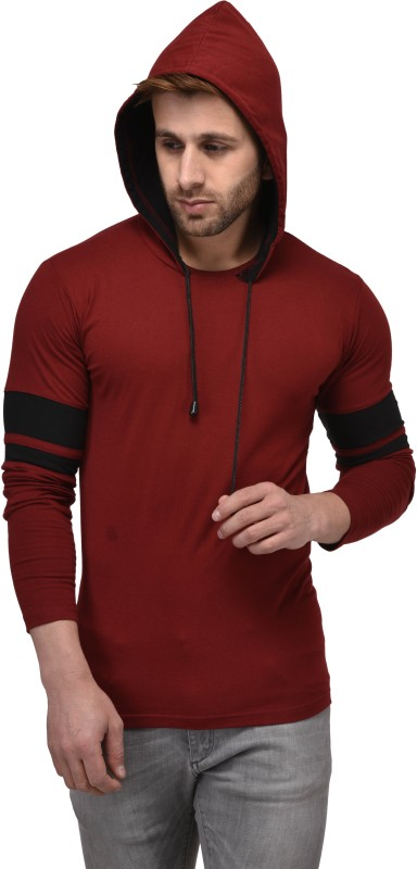 Kay Dee Color block Men Hooded Maroon, Black T-Shirt