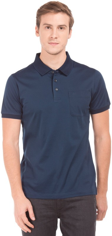 Arrow Solid Men Polo Neck Dark Blue T-Shirt