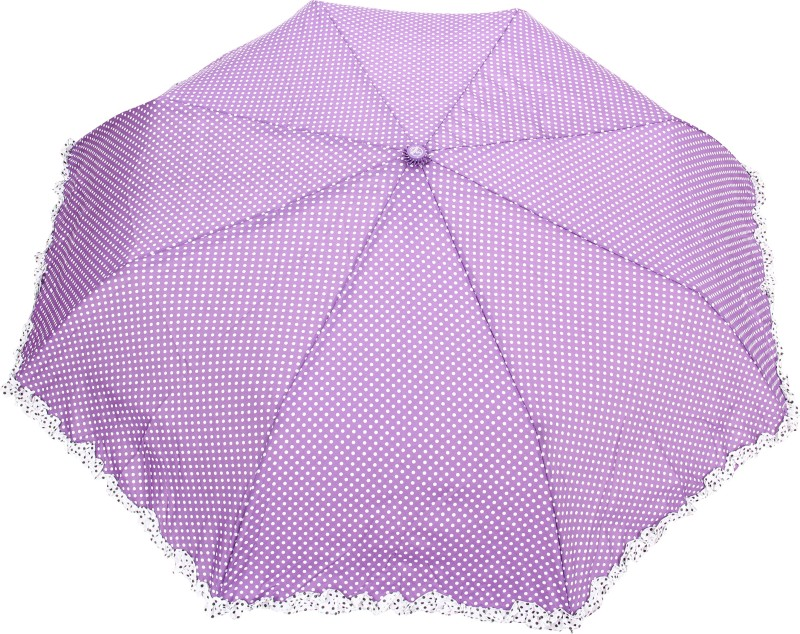 FabSeasons Polka Dot Print with lace Umbrella(Purple)