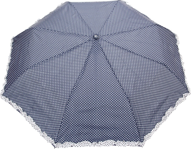 FabSeasons Polka Dot Print with lace Umbrella(Navy Blue)